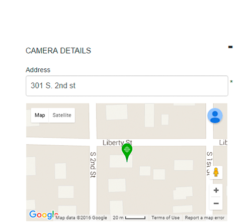 PubliCam camera registration map